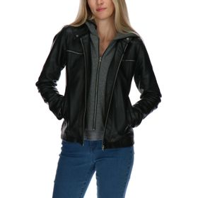 Chaqueta Mujer Double Zip Faux Leather